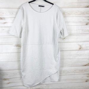 [Boohoo] White Floral Printed Wrap Hem Dress